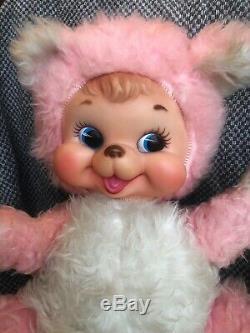 Vintage Rushton Company 1950s Rubber Face Pink Bear Plush Rare 12 TALL