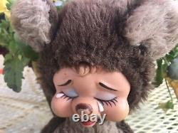 Vintage Rushton Crying Bear Plush Rubber Face No Tag