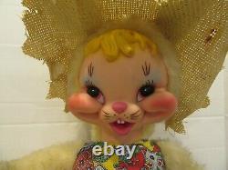 Vintage Rushton Large 22 Plush Rubber Face Bunny Rabbit 60s Rare Straw Hat USA