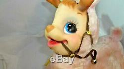 Vintage Rushton Plush Rubber Face Tickled Pink Resting Reindeer