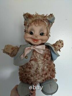 Vintage Rushton Raccoon Cat Vintage Rubber Face Plush