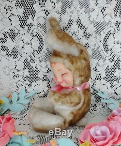 Vintage Rushton Rubber Face Faced Sleeping Plush Toy Bunny Rabbit Light Wear