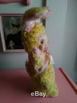 Vintage Rushton Rubber Face Faced Yellow Plush Bunny Rabbit HTF