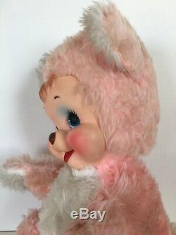 Vintage Rushton Rubber Face Lt. Pink bear plush Rare 18 TALL