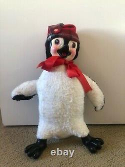 Vintage Rushton Rubber Face Penguin Plush Clean and Cute RR Toy 1950s Bow + Hat