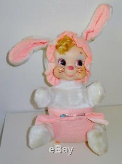 Vintage Rushton Rubber Face Plush Baby Easter Bunny Rabbit w Diaper Pin, Tag HTF