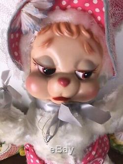 Vintage Rushton Rubber Face Plush Baby Girl Bunny Rabbit Diaper Pin Hat VHTF