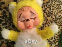 Vintage Rushton Rubber Face Plush Pouting Sad Crying Teddy Bear Toy