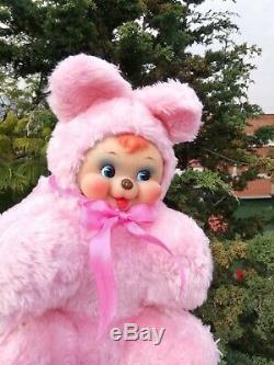 Vintage Rushton Rubber Face Plush pink Bear