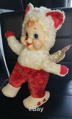 Vintage Rushton Rubber Face plush Cupid Bear