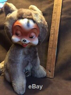 Vintage Rushton Rubber Faced Doll Squirrel Plush Rare Windup Music Box Rockabye