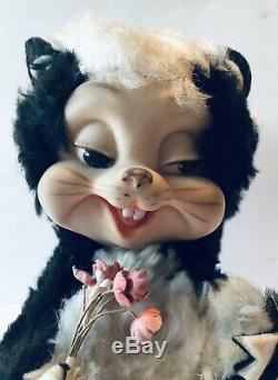 Vintage Rushton Skunk Plush Rubber Plastic Face Toy Stuffed Animal 8