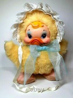 Vintage Rushton Star Creation Duck With Baby Bonnet & Blue Bow Rubber Face Plush