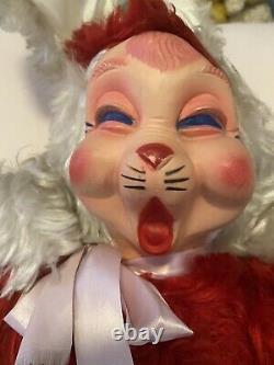 Vintage Rushton Type JeeBee Bunny Rabbit Sleepy Rubber Face Plush Toy