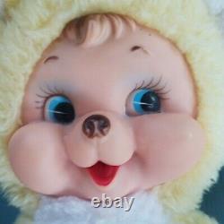 Vintage Rushton Yellow Teddy Bear Plush Stuffed Animal Rubber Happy Face 10