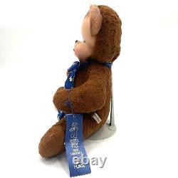 Vintage VTG 1950's 1959 Knickerbocker Pouting Teddy Bear Plush Rubber Face RARE