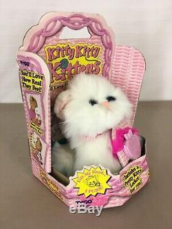 Vintage in BOX Kitty Kitty Kittens Plush White Cat Blue Eyes & Locket 1994 Tyco