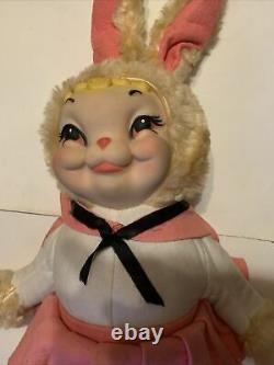 Vintage rare Rushton rubber face Star Creation plush bunny rabbit, 24 in tall
