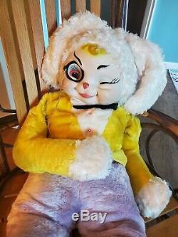 Vintage rare Rushton rubber face Star Creation plush bunny rabbit, 32 in tall