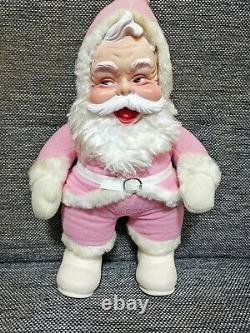 Vintage stuffed pink Santa Claus Plush Rubber Face rushton doll 18