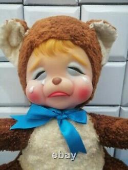Vintager The Rushton Co. Rubber face plush crying bear 15