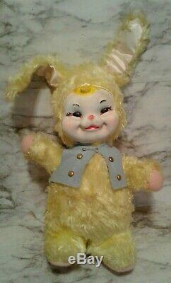 Vntg RUSHTON Co. Rubber Face YELLOW EASTER BUNNY Rabbit in VEST Plush Stuffed