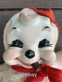 Vtg 1950s Rushton RUBBER FACED Cigar Smoking SNOWMAN Plush STUFFED Doll