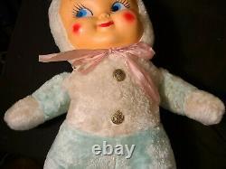 Vtg Easter Bunny Plastic/Rubber Baby Face Plush Rushton Knickerbocker