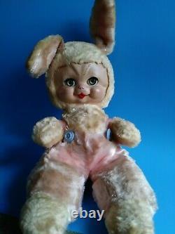Vtg Rushton Star Creation Bunny Rabbit Rubber face Stuffed Animal plush toy 50s