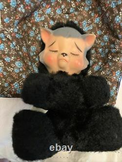 Vtg Small Knickerbocker Pouting Plush Doll, Rubber Face Animals of Distinction